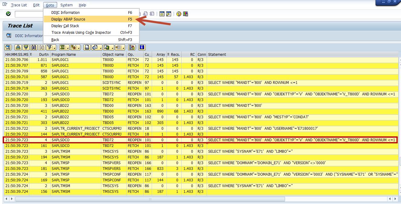ST05 display ABAP Source