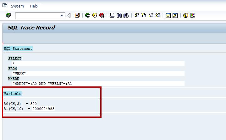 ST05 VA03 SQL Display