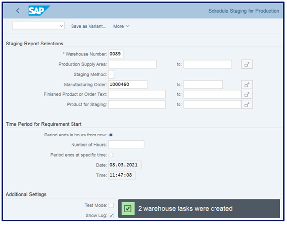creating the staging warehouse tasks